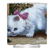 Kitten With Snail And Ball Shower Curtain