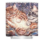 Kittens Sleeping Shower Curtain