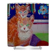 Kittens With Wild Wallpaper Shower Curtain
