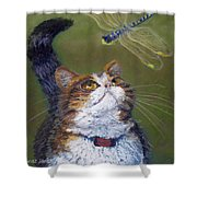 Kitty And The Dragonfly Close-up Shower Curtain