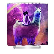 Kitty Cat Riding On Rainbow Llama In Space Shower Curtain