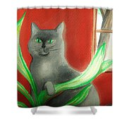 Kitty In The Plants Shower Curtain