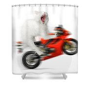 Kitty On A Motorcycle Doing A Wheelie Shower Curtain