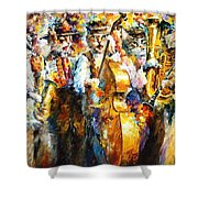 Klezmer Cats - Palette Knife Oil Painting On Canvas By Leonid Afremov Shower Curtain