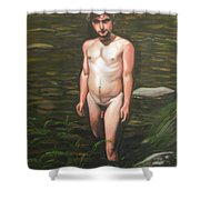 Kline Wading In The River Shower Curtain
