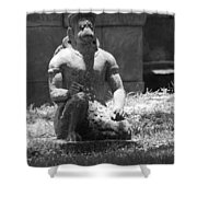 Kneeling Monkey In Black And White Shower Curtain