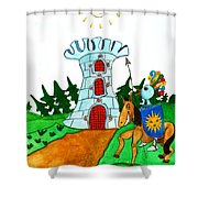 Brave Knight-errant And His Funny Wise Horse Shower Curtain