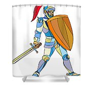 Knight Full Armor With Sword Defending Mosaic Shower Curtain