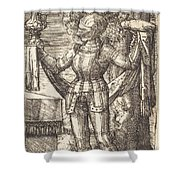 Knight In Armour With Bread And Wine Shower Curtain