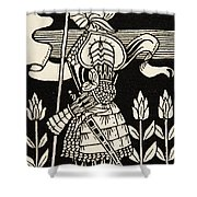 Knight Of Arthur, Preparing To Go Into Battle, Illustration From Le Morte D'arthur By Thomas Malory Shower Curtain