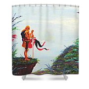 Knight On A Cliff Shower Curtain