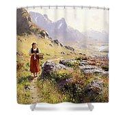 Knitting In A Norwegian Landscape Shower Curtain