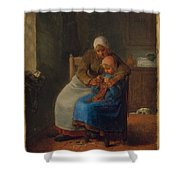 Knitting Lesson Shower Curtain