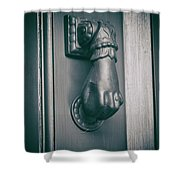 Knocking Hand Shower Curtain by Michael Colgate