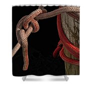 Knot Me - Pink Mooring Ropes Shower Curtain