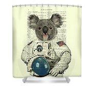 Koala In Space Illustration Shower Curtain