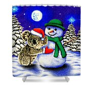 Koala With Snowman Shower Curtain
