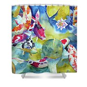 Koi And Two Waterlilies Flowers Shower Curtain
