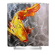 Koi Fish Aluminum Print, Unique Gift For Any Home Or Office. 'the Silver Koi'. Shower Curtain