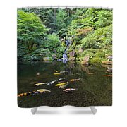 Koi Fish In Waterfall Pond At Japanese Garden Shower Curtain