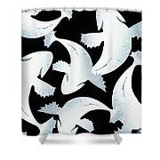 Koi Fish Powder Black - Pearl Shower Curtain