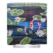 Koi In Lilly Pond Shower Curtain