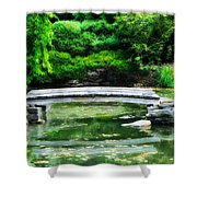 Koi Pond Bridge - Japanese Garden Shower Curtain