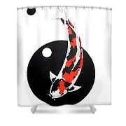 Koi Showa Circles Nishikoi Painting Shower Curtain