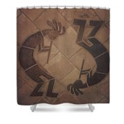 kokopelli Hand cut Tiles Shower Curtain