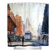 Kolkata City With Tram Shower Curtain