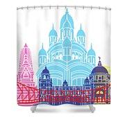 Kolkata Skyline Pop Shower Curtain