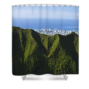 Koolau Mountains And Honolulu Shower Curtain