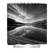 Kootenay Lake Sunrise Black And White Shower Curtain