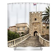 Korcula Old Town Stairs Shower Curtain