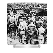 Korean War: Church Service Shower Curtain