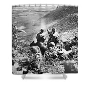 Korean War: Machine Gun Shower Curtain