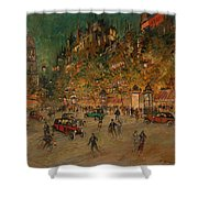 Korovin, Konstantin 1861-1939 Les Grands Boulevards, Paris Shower Curtain