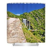 Krcic Waterfall In Knin Scenic View Shower Curtain