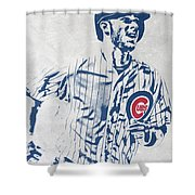 kris bryant CHICAGO CUBS PIXEL ART 2 Shower Curtain