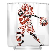 Kris Dunn Chicago Bulls Pixel Art 1 Shower Curtain