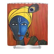 Krishna With Flute Shower Curtain