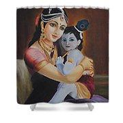 Krishna With Mother Yasoda Shower Curtain