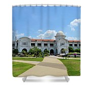Ktm Railway Colonial Train Station Building With Gardens Ipoh Malaysia Shower Curtain