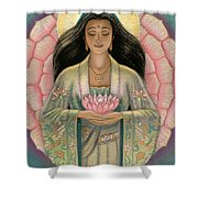 Kuan Yin Pink Lotus Heart Shower Curtain