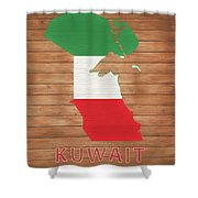 Kuwait Rustic Map On Wood Shower Curtain