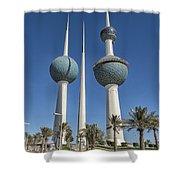 Kuwait Towers In Kuwait City, Kuwait Shower Curtain