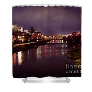 Kyoto Nighttime City Scenery Of Kamo River With Street Lights Re Shower Curtain