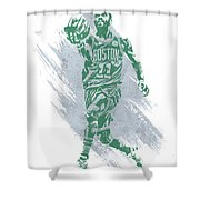 Kyrie Irving Boston Celtics Water Color Art Shower Curtain