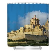L-imdina Castle City Cathedral And Walls Shower Curtain