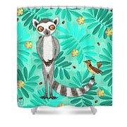 L Is For Lemur And Lark Shower Curtain